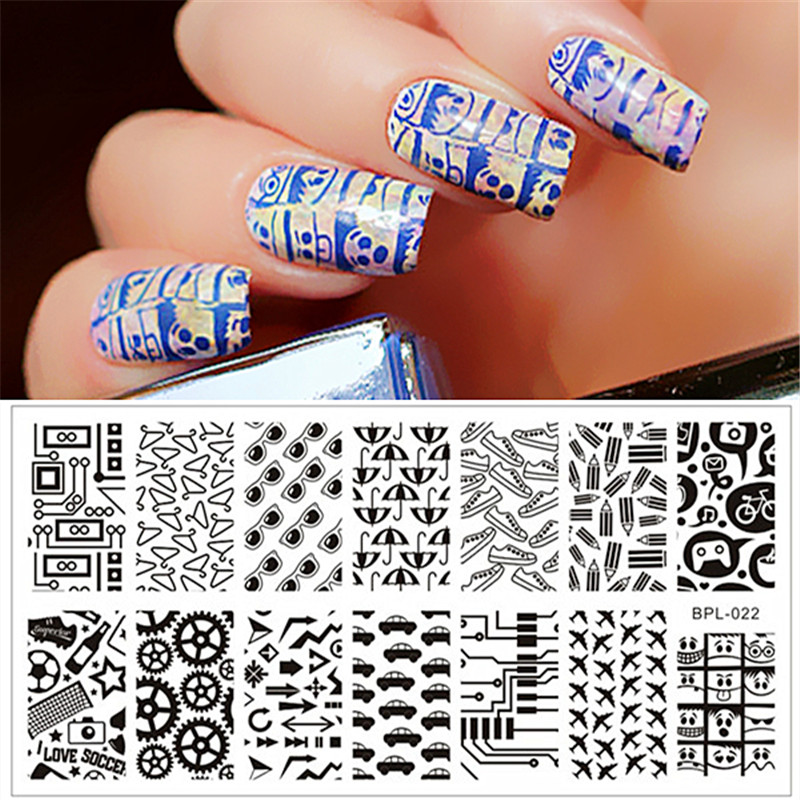 Car Gear Glasses Pattern Nail Art Stamp Template 12.5 x 6.5cm BORN PRETTY Airplane Shoes Pencil Stamping Image Plate BP-L022(China (Mainland))