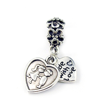 Free Shipping Fashion 1pc 925 Silver Plating Love Kiss Double Heart Pendant With Charm Bead Fit Bracelet & Bangle YW15337