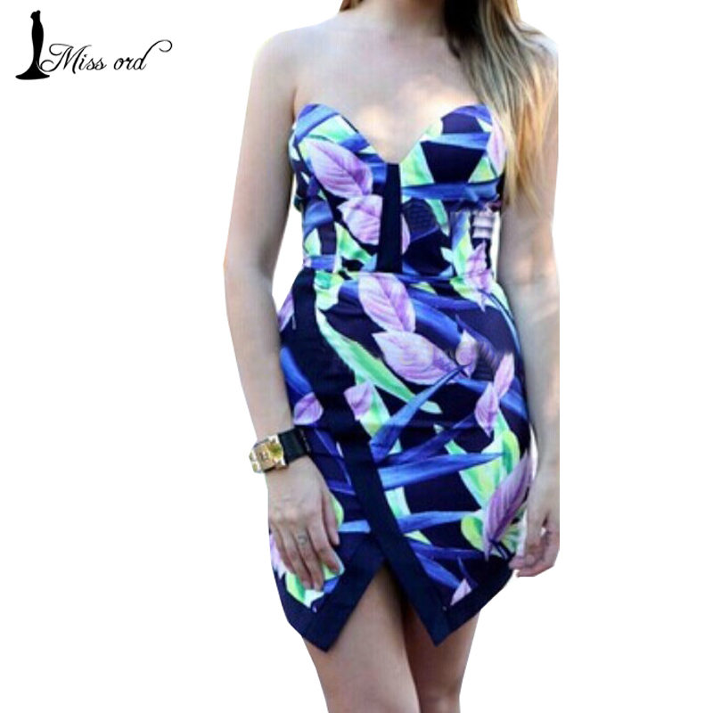 Free Shipping Missord 2016 Fashion Leaf print dress chest wrapped dress Party dress FT1101(China (Mainland))