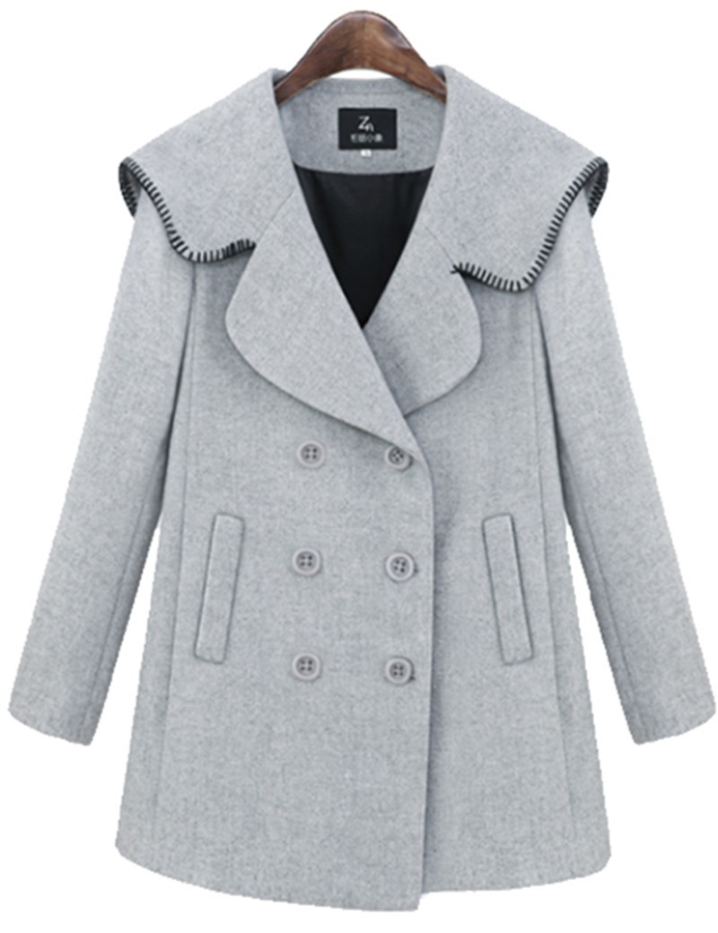 2016 Autumn and Winter Clothing Women Fashion Casual Double Breasted Gray Wool Coat Jacket Female High Quality Woolen Overcoat