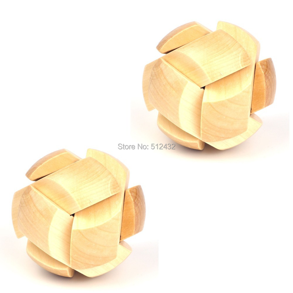 3D Wooden Football Cube Brain Teaser Puzzle Toy for Kids and Adults, 2 Pack(China (Mainland))