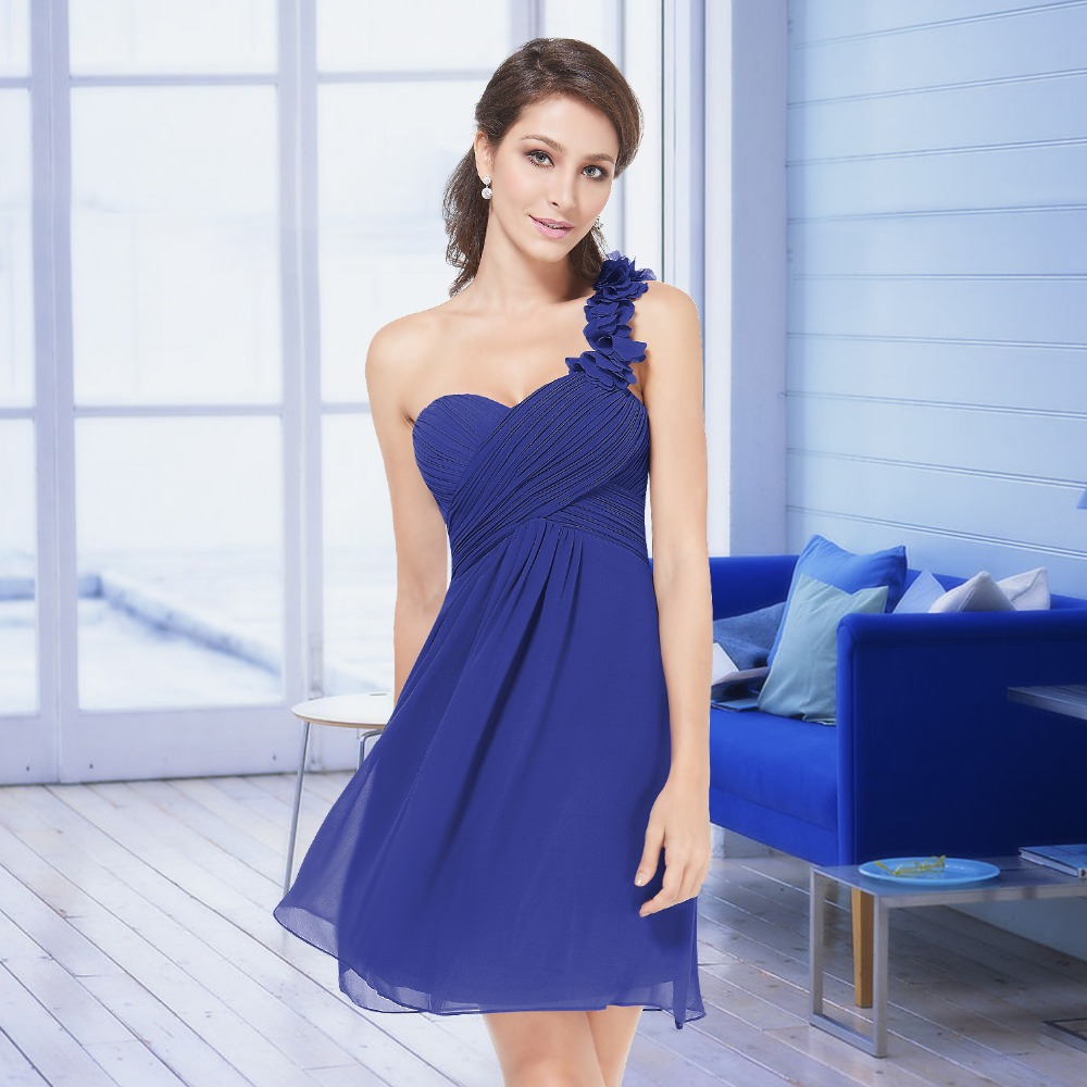 Bridesmaid Dresses Ever Pretty HE03535 New Flowers Light Purple One Shoulder Chiffon Padded Dresses Fast Shipping