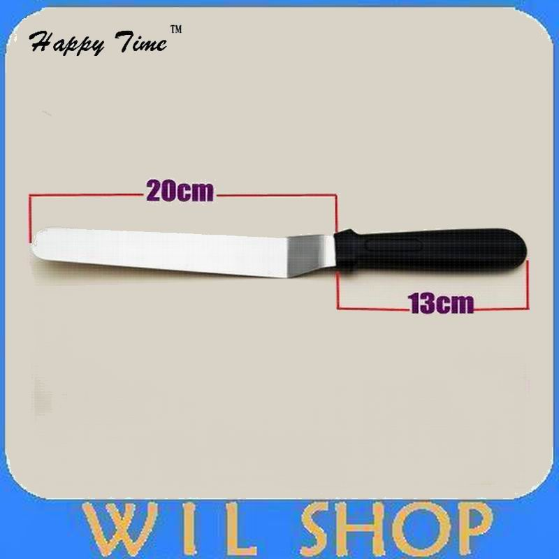 DHL Free shipping 80pcs Stainless steel handle 8 inch curved Knife rubber sword kiss cake baked cake mould tool offset spatula(China (Mainland))