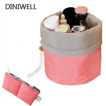 Nylon Barrel Shaped Travel Toiletry Cosmetic Bag Makeup Organizer Storage Bag For Drawstring Elegant Drum(China (Mainland))