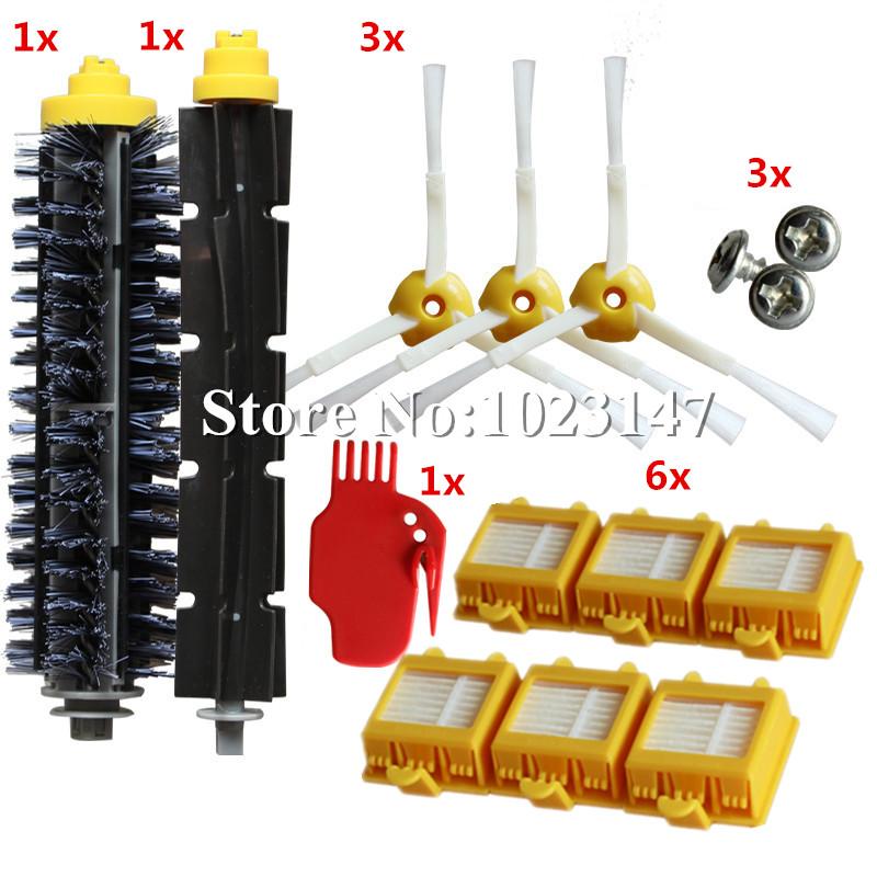 3 Side Brush+3 screw+ 6 HEPA Filter +1 Bristle Beater Brush for iRobot Roomba 700 Series Vacuum Cleaner Robots 760 770 780 790(China (Mainland))