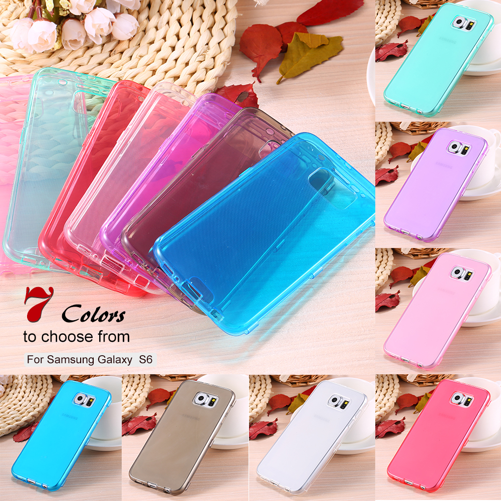 S6 Clear Case Full Flip Cover For Samsung Galaxy S6 G9200 Soft Transparent TPU Phone Bag Silicon Rubber Mobile Phone Case S6(China (Mainland))
