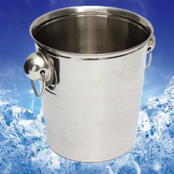 Top Grade Stainless Steel Cubes Barrel Ice Container Barrel Bucket Beer Wine Cooler Champagne 18x19cm Bar Home Using(China (Mainland))