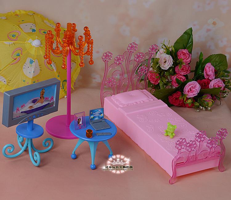 New Fantasy mattress TV desk furnishings set 30cm doll equipment for barbie doll ladies play home toys diy birthday present