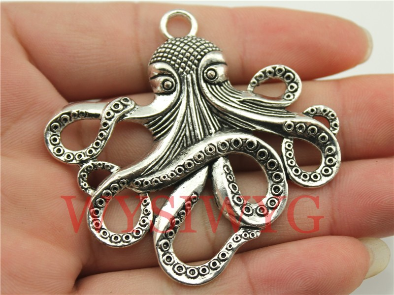 WYSIWYG 1pcs 59*57mm antique silver octopus charms  (China (Mainland))