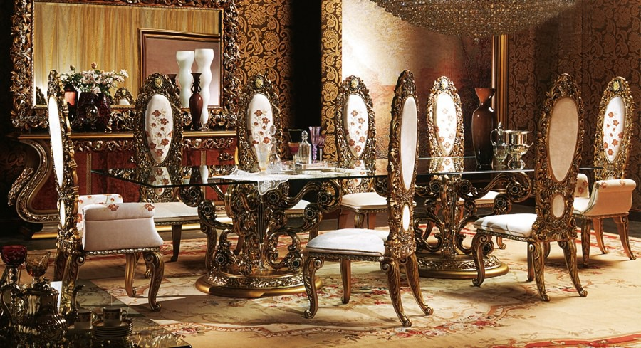 European Style Luxury Imperial Wood Carved Flower Decorative Dining Room Set