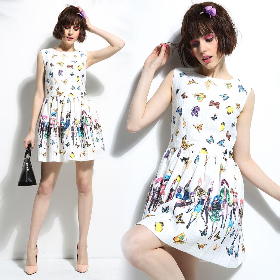 2015 women butterfly Dresses Femininos Vestidos girl elegant Vintage Digital Print Casual Dress