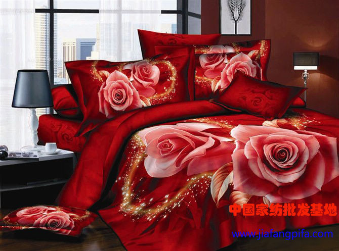 3D Red rose flower print bedding set queen size duvet cover bedspread bed in a bag sheet fashion linen wedding cotton(China (Mainland))