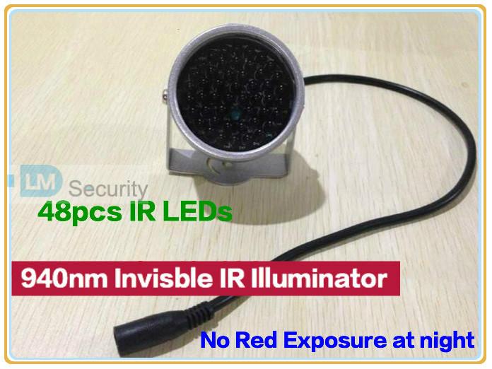 Miniature CCTV IR illuminator no red exposure 940nm Invisible Light Black Light Monitoring F5 48pcs IR LEDs CCTV Camera(China (Mainland))