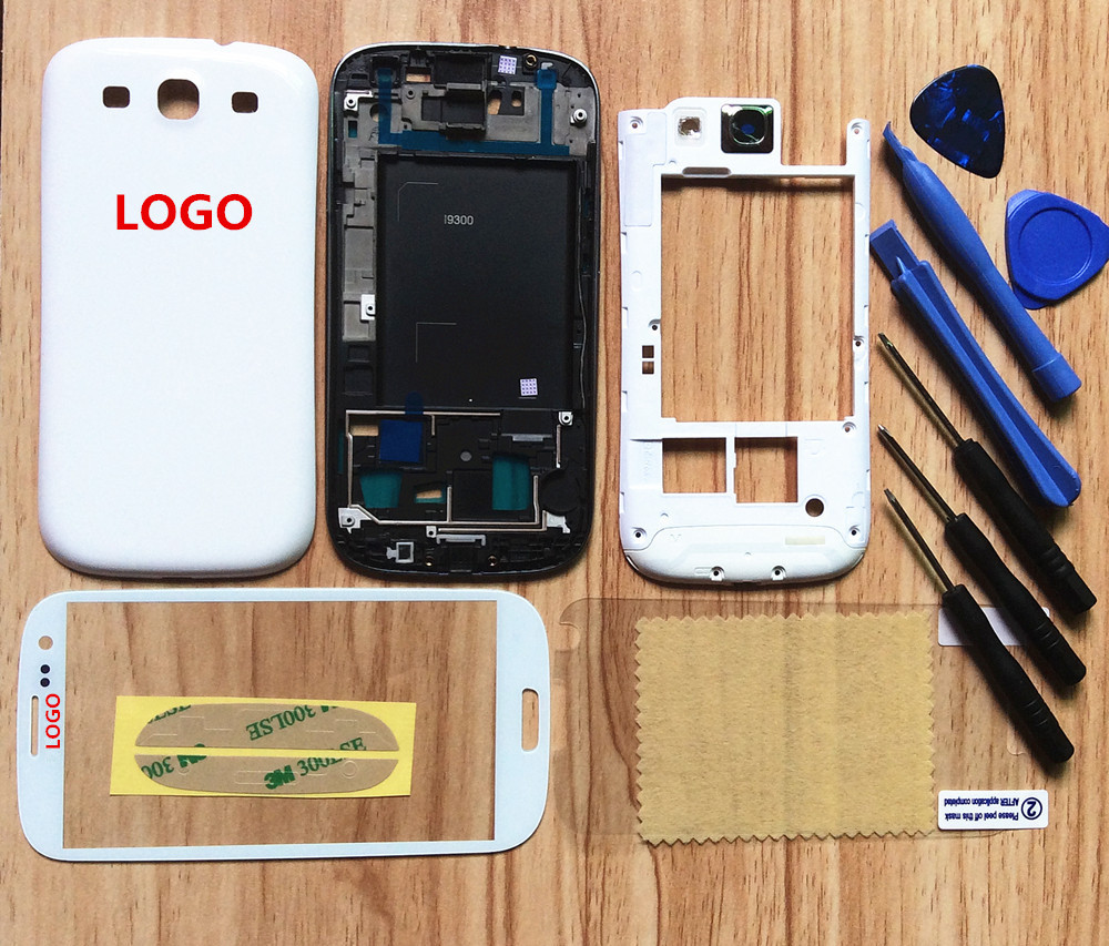 White Full Housing Case Cover Battery Cover Back Door For Samsung Galaxy S3 i9300 With Tracking Number Free shipping