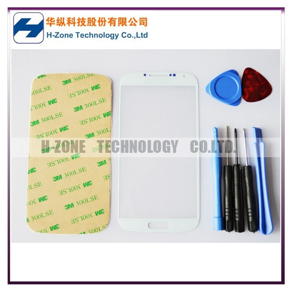Freeshipping White Color Front Outer Glass Lens Screen Cover For Samsung Galaxy S4 GT-i9500 Replacement +Tools+Adhesive
