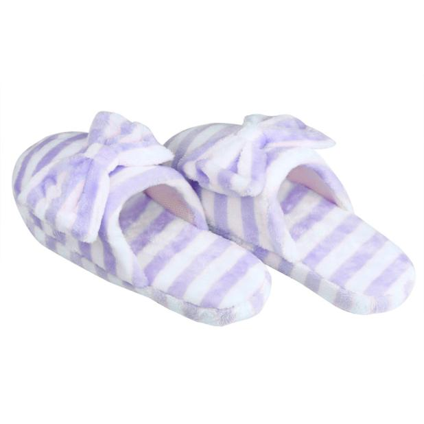 Wo weino Excellent Quality New brand 2016 Home Slippers winter Women Soft Warm Bowknot striped Cotton Anti-slip Indoor Shoes