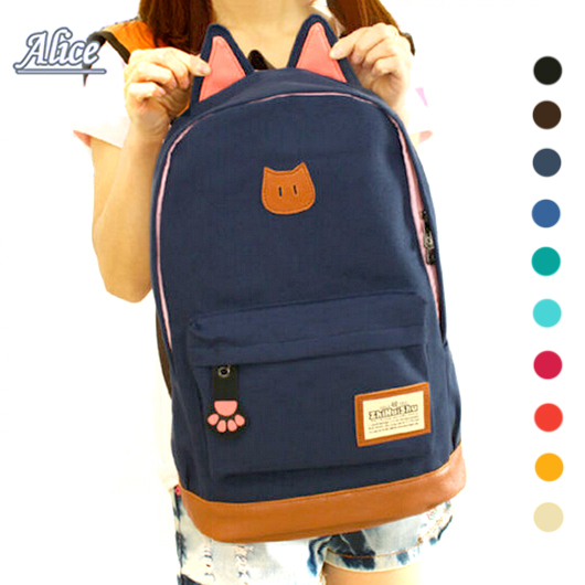 2016 Hot Sales Campus Girls Backpack Women Travel Bag Young Men Canvas Backpack Brand fashion school Sports Bags Cat ears Bags(China (Mainland))