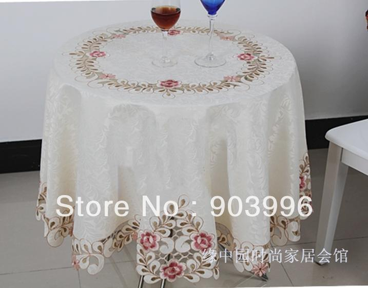 6730 Free Shipping-embroidery fabric table cloth rectangle wedding tablecloths wedding table cloths, SIZE:round 180cm(China (Mainland))