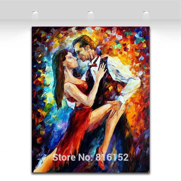 Buy Delightful Tango-Fashion Palette Knife 100% Hand-painted Canvas Paintings Sexy Tango Duets Pictures for Home Office No Frame cheap