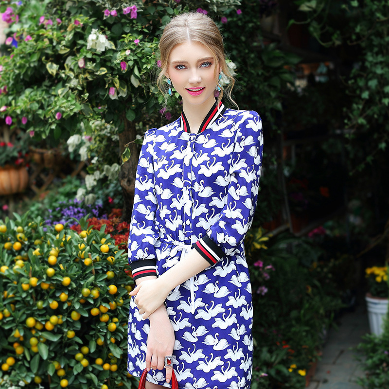 New Women's Spring Dresses Swan Print Silk Dresse for Woman Female Luxury Brand Design(China (Mainland))