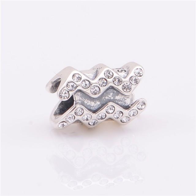 Лаки знак 925 чистое серебро Jewerly Aquariu спейсерной бусины с камнями камни подходят европейский подвески-талисманы браслеты для женщины своими руками