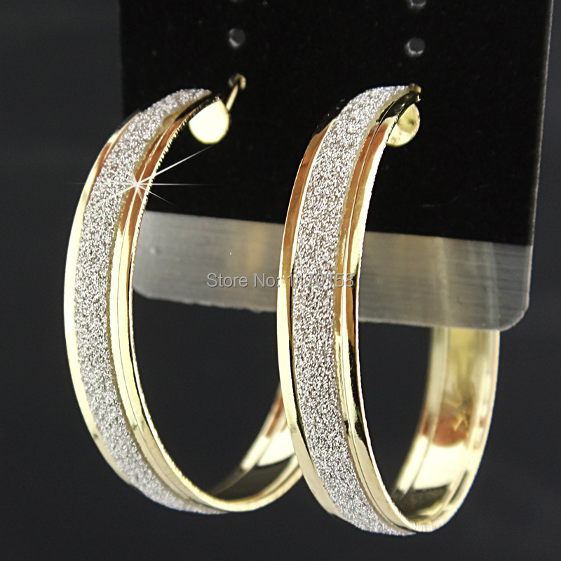 2015 rushed New Arrival Women Fashion Frosted Womens 18K Gold Plated Hoop Earrings Wholesale Jewelry Lots C669(China (Mainland))