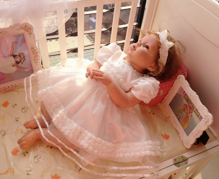 Фотография New summer high quality Baby girl Christening Gown wedding newborn formal Baptism dress+hat  0M-24M free shipping 056