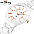 Switzerland Binger ceramic quartz watch women fashion lovers style luxury brand Wristwatches 300M Water Resistance B8006