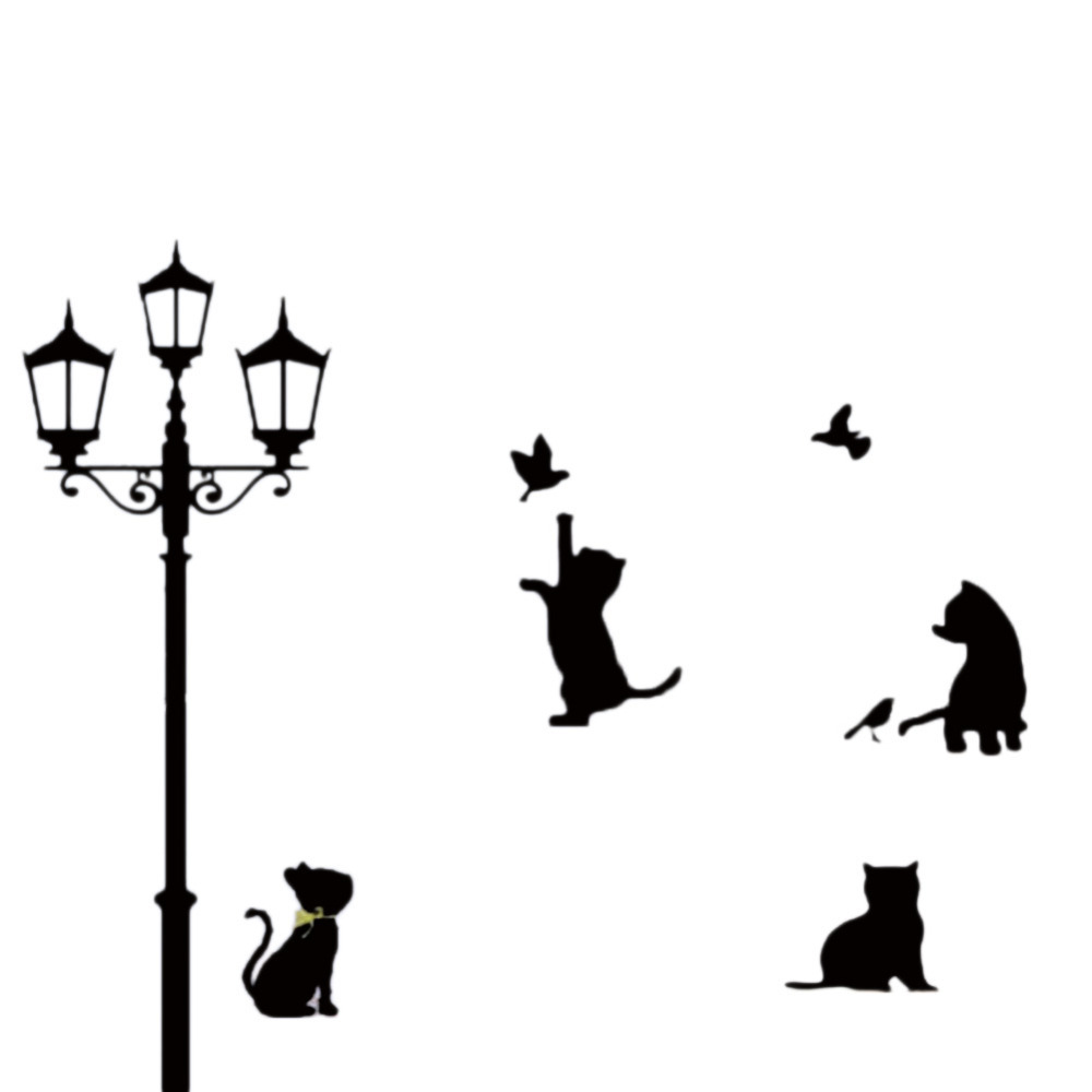 Black Cat Wall Stickers Playing Under The Lights Children's Room Nursery Classroom Cartoon Stickers HG-WS-1994(China (Mainland))