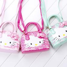 Hot new arrival Hello Kitty girl's princess Sequins bag wallet purse portable messenger children handbag(China (Mainland))
