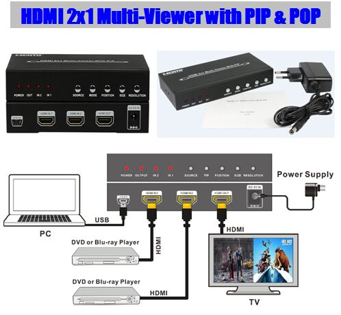 2015 new HDMI 2x1 Multi-Viewer with PIP & POP Seamless switcher 2 into 1 HDTV Digital Audio and Video Entertainment 1080P(China (Mainland))