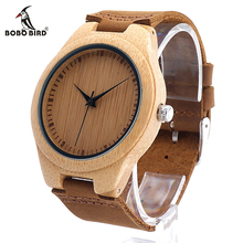 Buy BOBO BIRD F18 Mapanese Miyota 2035 Movement Wristwatches Genuine Leather Bamboo Wooden Watches Men Women Christmas Gifts for $18.29 in AliExpress store