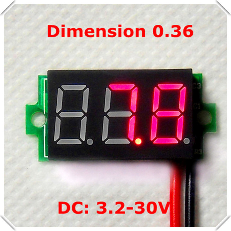 RD 0.36 Digital Voltmeter new mini dc 3.2-30V two wires 3 digit Voltage Panel Meter led Display Color: Red[ 10 pieces / lot](China (Mainland))