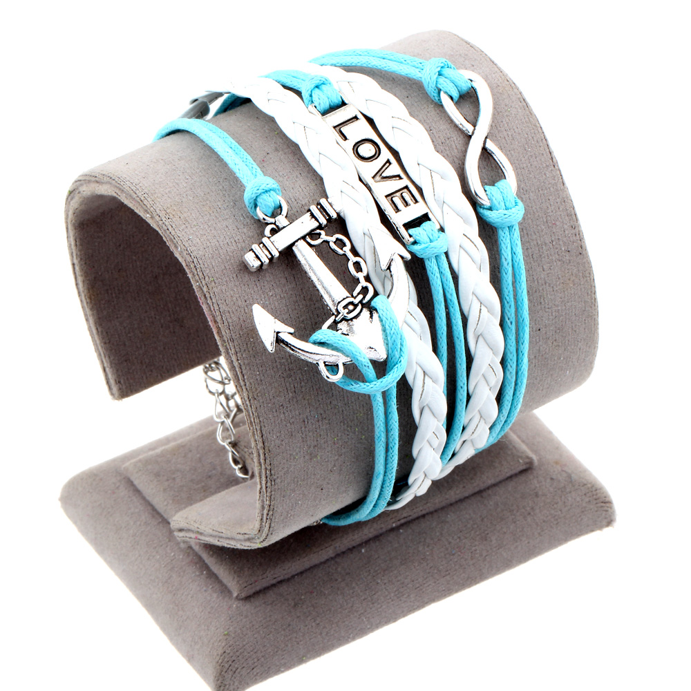 Fashion Men Women plating gold silver chain bracelet DIY leather pirate anchor blue bracelet jewelry gift LOVE(China (Mainland))
