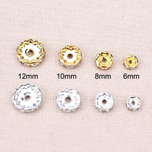 Buy 50pcs/lot 6/8/10/12mm Dia Silver/Gold Rhinestone Crystal Charm Beads Spacer Beads DIY Necklace Bracelet Making Accessories for $1.20 in AliExpress store