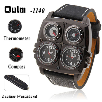Oulm-1140 Men's Quartz Military Wrist Watch with Dual Movt Compass&Thermometer Function and Leather Band Free shipping