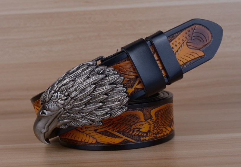 Eagle Designers Luxury Fashion Vintage Male Strap Brand Genuine Leather Belts for Men Punk Cowskin for Jeans Cintos Ceinture