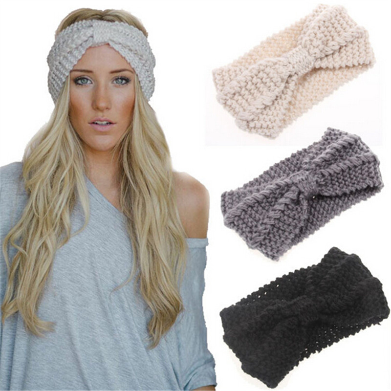 Winter Women Warm Headbands Knitting Hairbands Stretch Knotted Headwear Crochet Bow Elegant Turban Hair Accessories1pc WH231(China (Mainland))