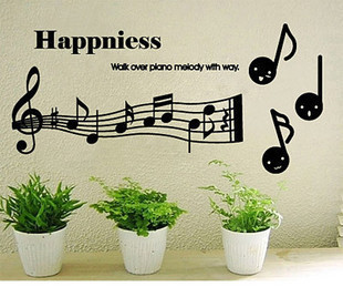 Fashion personality living room background wall bar ktv music decoration stickers cartoon note - newlly liu's store