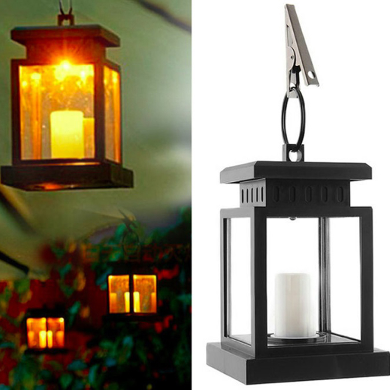 4pc outdoor solar powered led candle light hanging mounted garden yard