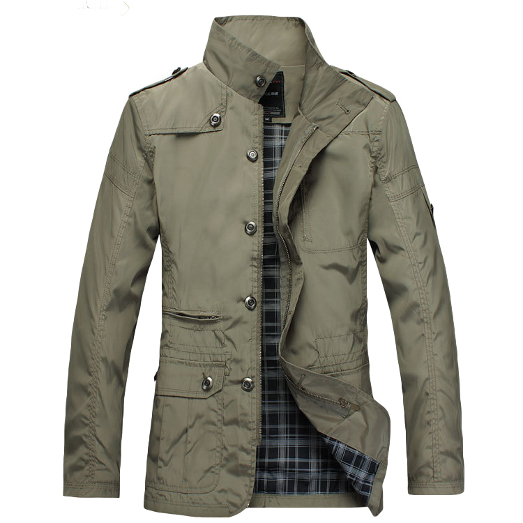 Solid Mens Military Jacket Male Casual Short Trench Coat with Stand Collar Concealed Zipper Closure 2015 Plus Size MZWTJK006(China (Mainland))