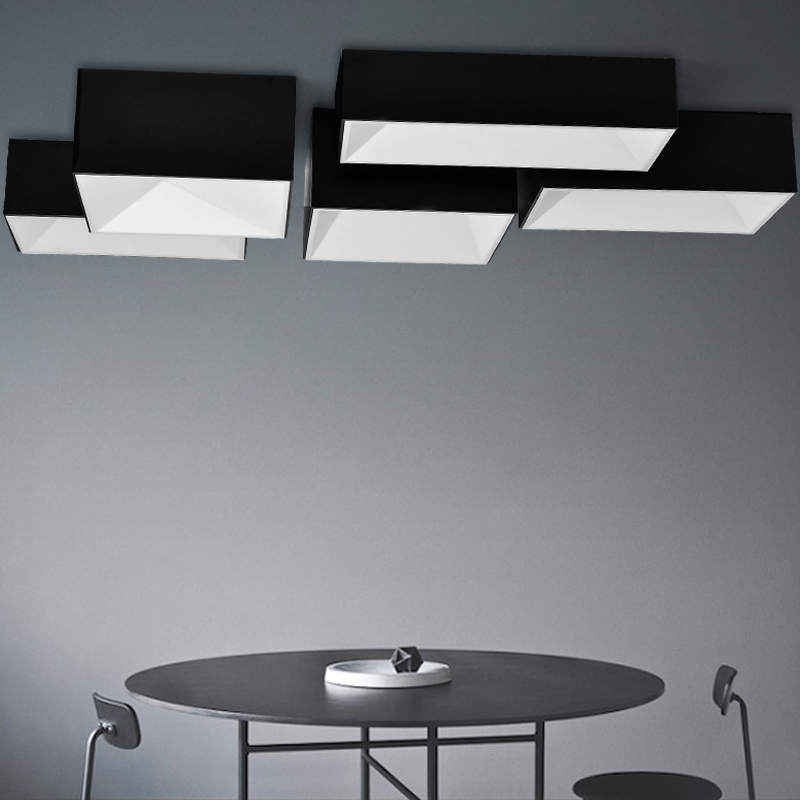 Black and white Squares rectangles combination Modern LED light living room ceiling home lighting fixtures plafond lamps(China (Mainland))