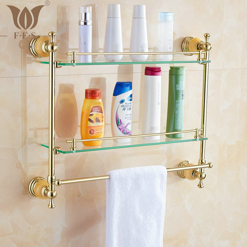 62 Jade Series Golden Polished Double Bathroom Shelves Bathroom Accessories Towel Bar&Hook With Glass Dressing Shelf(China (Mainland))