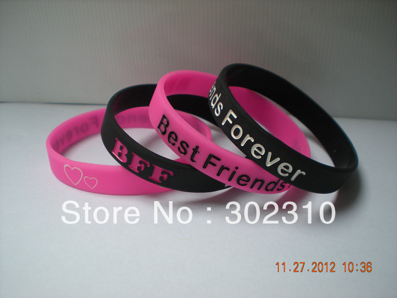 100PCS/Lot BFF Best Friends Forever Debossed Silicone Wristband for Give Away Gift(China (Mainland))