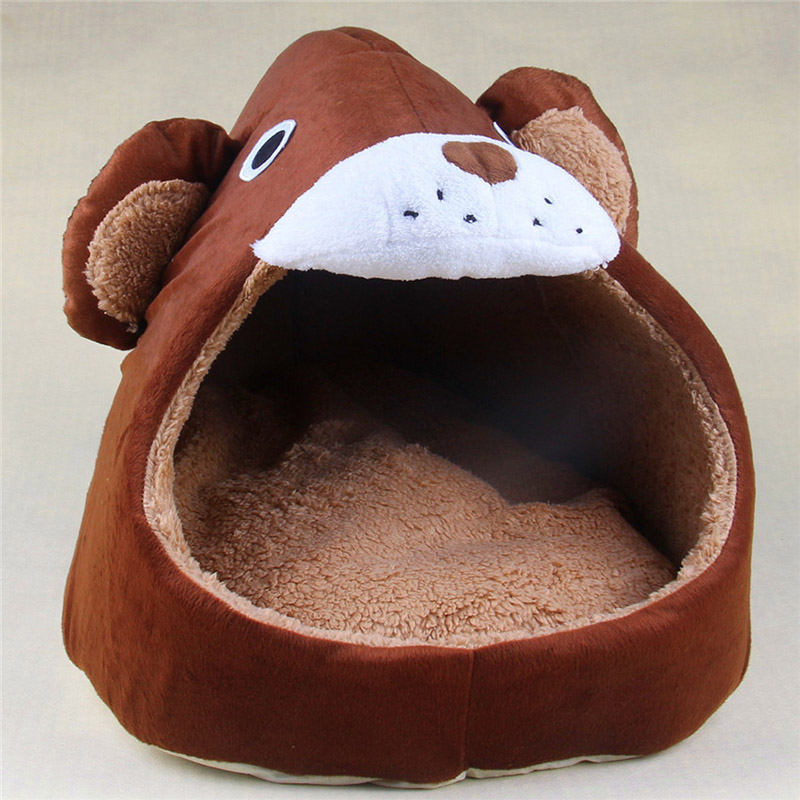 Cute Home Pet Dog Cat Bed Bear Shape Warm Soft Kennel Cat Dog House Pet Sleeping Short Pile Material Removable Breathable S M L(China (Mainland))