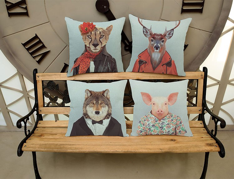Animals die like a dog White hair monkey Square Pattern printing Luxury home Decorate Car sofa seat cushion cushions pillow
