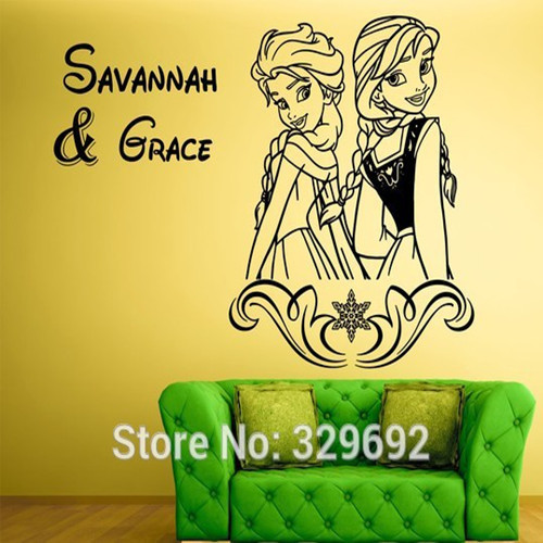 free shipping WALL ART STICKERS DECAL / FROZEN / ELSA & ANNA + PERSONALISED ANY NAMES Princess Wall Stickers Girl Bedroom Decor(China (Mainland))