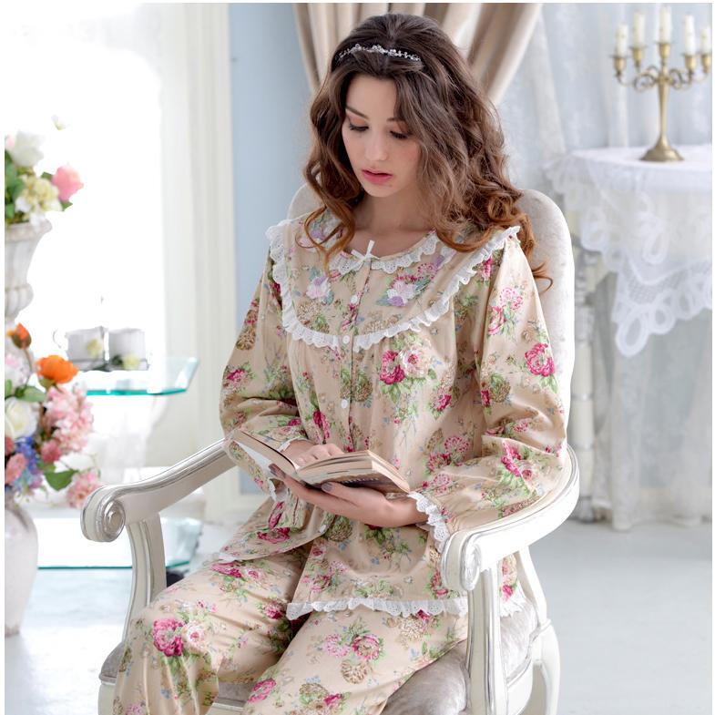 2015 spring and summer pajamas set women cotton long-sleeved pajamas female floral cotton tracksuit suit women nightwear set