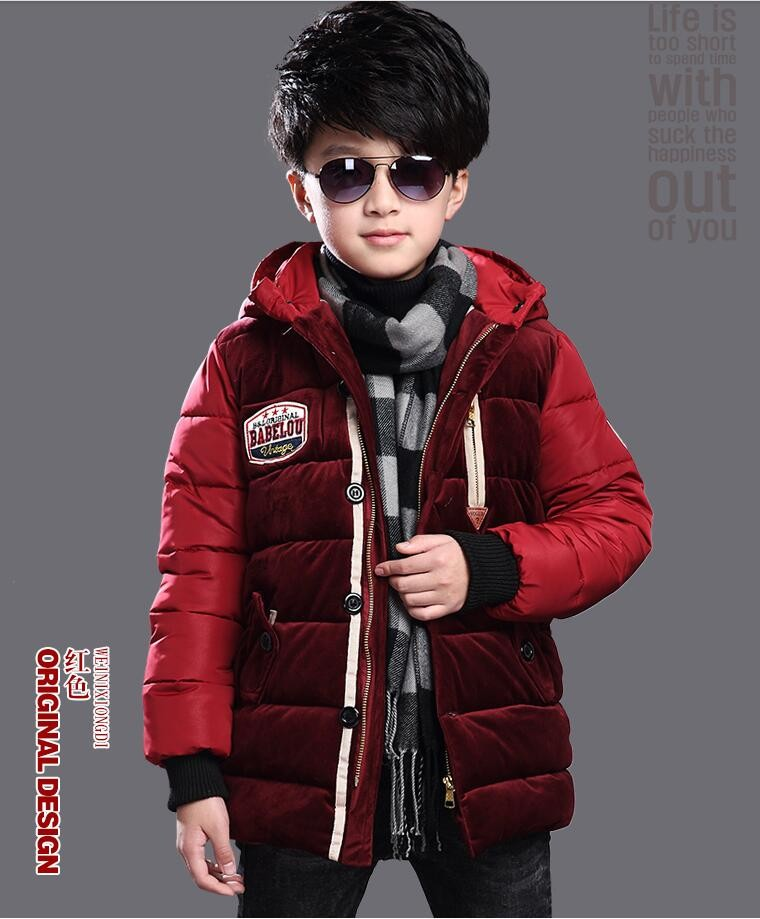 boys winter jacket waterproof windproof cotton padded down jacket velvet thicken warm hooded boy outwear coat children clothing
