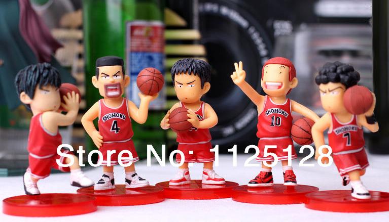 Free Shipping Japanese Anime Slam Dunk Shohoku basketball team PVC Action Figures Dolls Boys Toys Doll Kids gift 5pcs/set(China (Mainland))